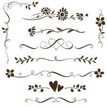 Set Of Calligraphic Floral Ele...
