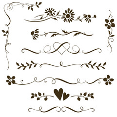 Set of calligraphic floral elements with hearts for wedding invitation design. Vector decorative ornament with flower silhouette. Dividers and frame elements