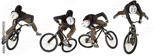 young man dirt jump mountainbike mtb jump trick set collection isolated on white Canvas Print