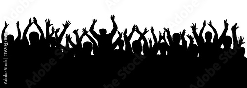 Fototapeta Applause crowd silhouette, cheerful people. Concert, party. Funny cheering, isolated vector obraz