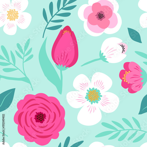Cotton fabric Cute seamless hand drawn spring pattern with primitive rustic flowers and leaves