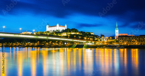 Bratislava historical center with the castle over Danube river, Bratislava, Slov Wallpaper Mural