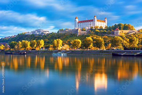 Photo  Bratislava historical center with the castle over Danube river, Bratislava, Slov
