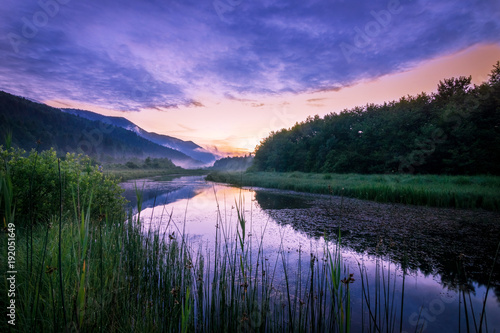 Foto op Canvas Rivier Sunset over the river