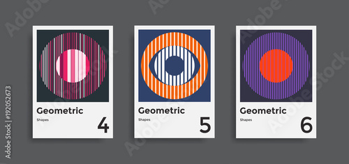Photo  Covers templates collection with graphic geometric shapes