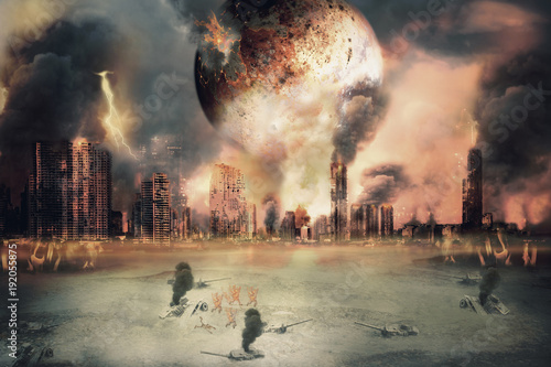 Burnt planet / Planet landscape and burnt city, judgement day Wallpaper Mural
