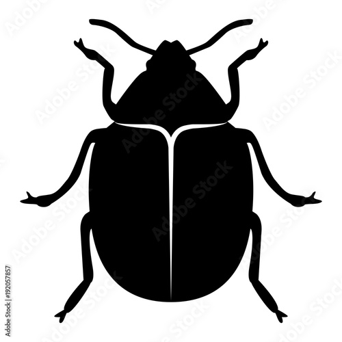 Fotografija Vector image of the Colorado beetle silhouette on a white background