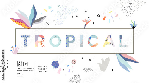 TROPICAL vector word. Floral header. Season creative art greeting poster with hand drawn textures