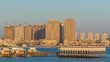 View from Katara Beach timelapse in Doha, Qatar, towards the Pearl.