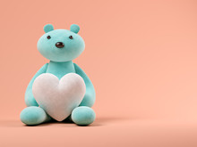 Blue Toy Bear With Heart On Pi...