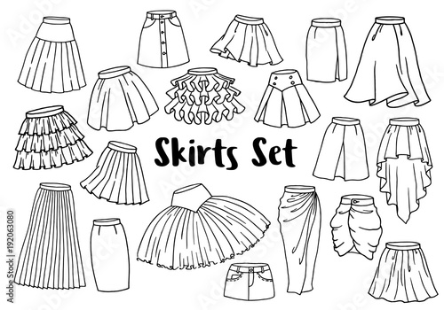 Photo Set of hand drawn women skirts