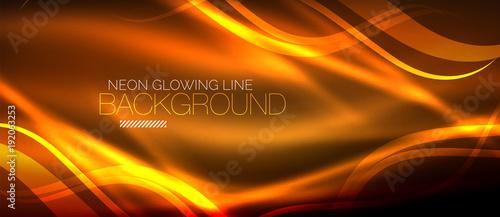 Obraz Neon orange elegant smooth wave lines digital abstract background - fototapety do salonu