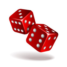 Two Red Falling Dice Isolated ...