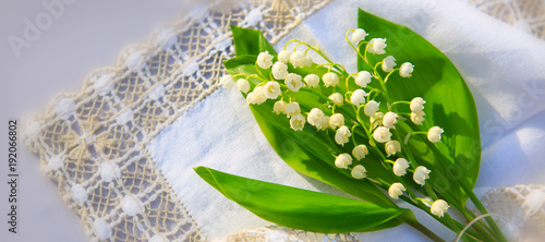 Poster Muguet de mai Lily of the valley bouquet on the table.