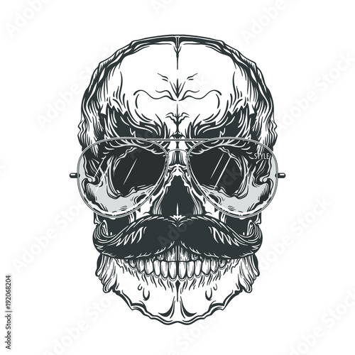 Printed kitchen splashbacks Watercolor skull Grey illustration of skull with mustache and sunglasses. Isolated on white background.