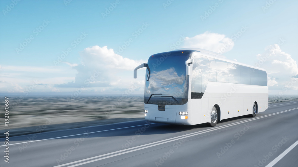 Photo  tourist white bus on the road, highway