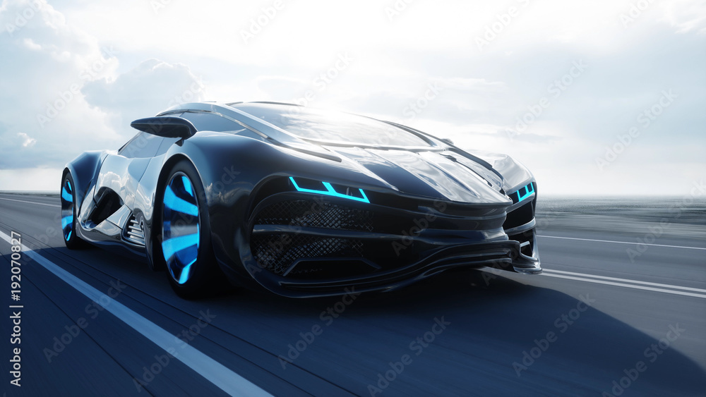 Fototapety, obrazy: black futuristic electric car on highway in desert. Very fast driving. Concept of future. 3d rendering.