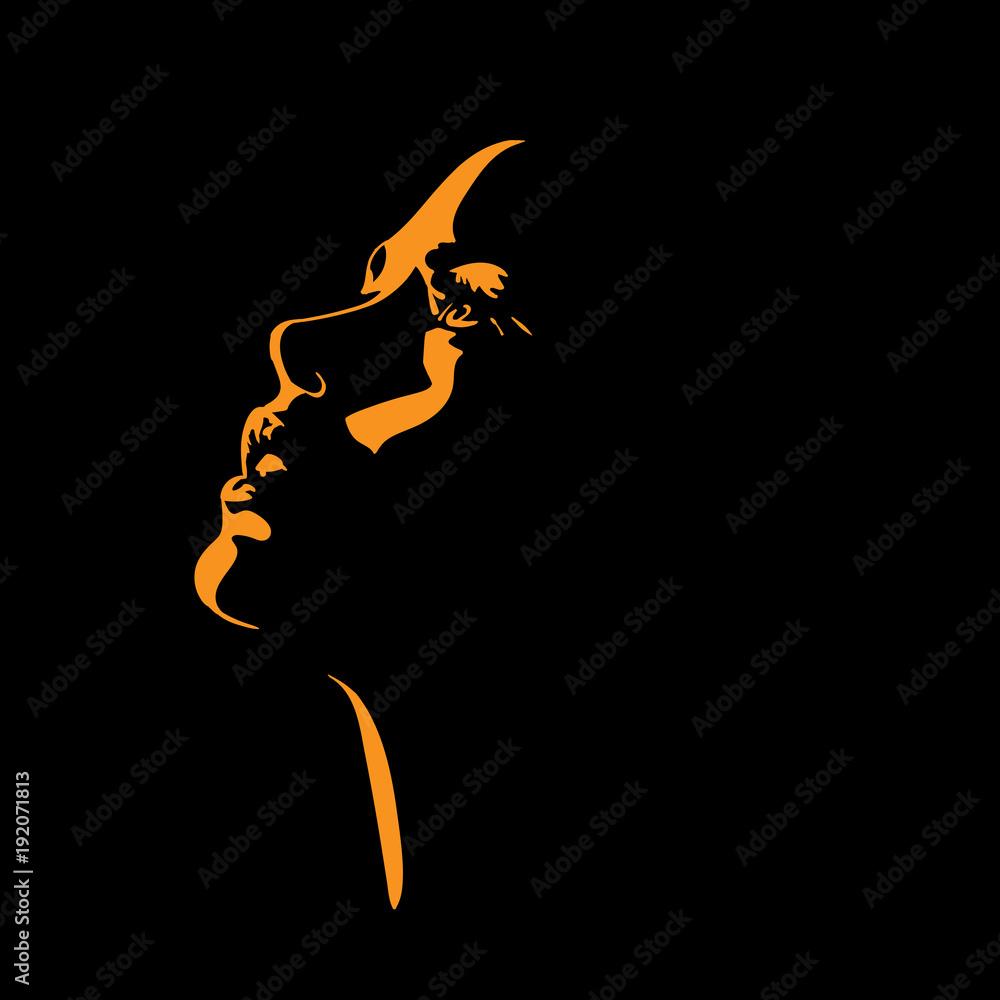 Fototapeta Woman s face silhouette in backlight.