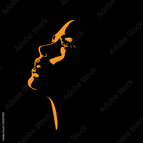 Woman s face silhouette in backlight.