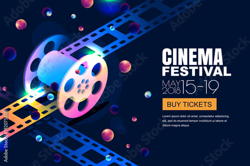 Vector Glowing Neon Cinema Festival Banner Film Reel In 3d Isometric Style On Abstract Night