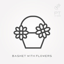 Line Icon Basket With Flowers