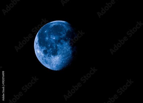 Fotografie, Obraz  High contrast Waning gibbous moon