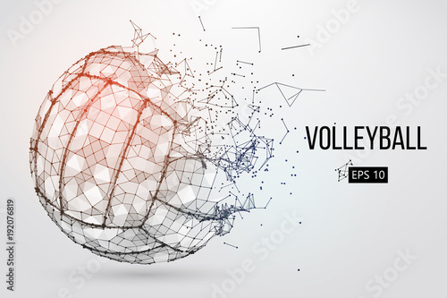 fototapeta na drzwi i meble Silhouette of a volleyball ball. Dots, lines, triangles, text, color effects and background on a separate layers, color can be changed in one click. Vector illustration.