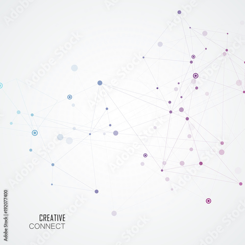 Fototapety, obrazy: Abstract connection background with molecule structure. Science and network vector illustration