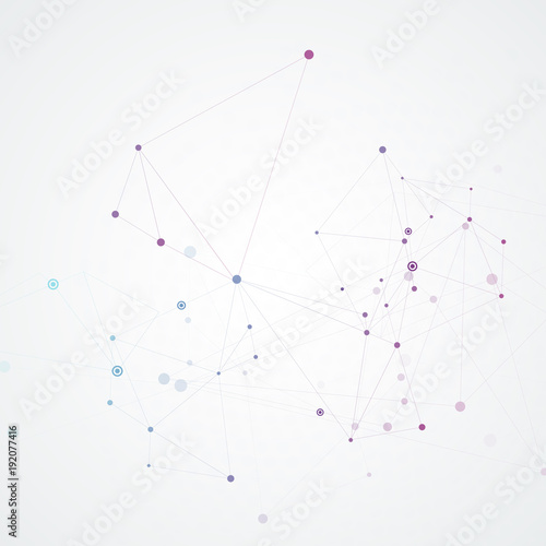 Abstract connection background with molecule structure. Science and network vector illustration Wall mural