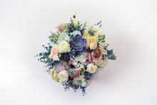 Stylish Artificial Bouquet Of Flowers. Top View.