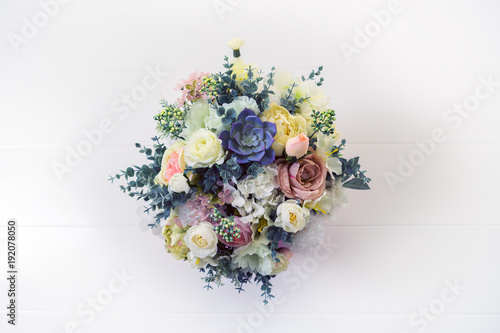 stylish artificial bouquet of flowers. Top view. Wallpaper Mural