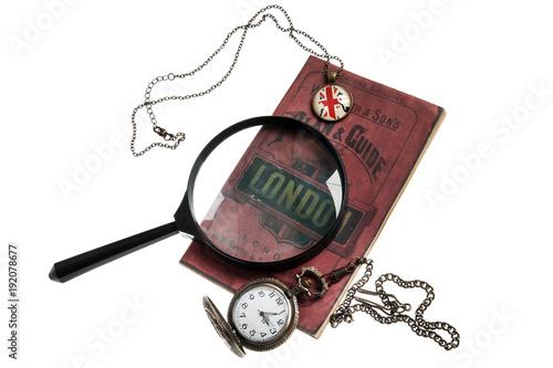 Photo isolated set of Detective