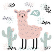 Pink lama alpaca with hi text, surrounded by desert cactuses on white background. Wild or zoo cute cartoon fluffy animal vector illustration. Hello card from Peru