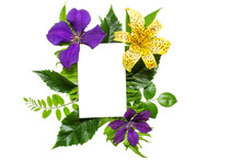 Creative Layout With Violet And Yellow Flowers, Leaves And Blank White Greeting Card