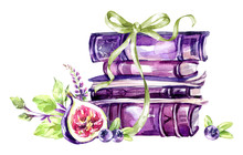 Watercolor Illustration. A Pile Of Old Books With A Bow, Figs, Leaves And Berries. Antique Objects. Spring Collection In Violet Shades. ClipArt, DIY, Scrapbooking Elements.