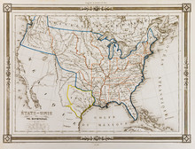 Antique Map Of United States O...