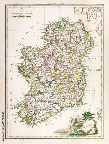 Antique map of Ireland, 1812 Wallpaper Mural