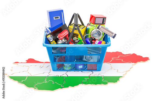 Poster Map of Hungary with shopping basket full of home and kitchen appliances, 3D rendering