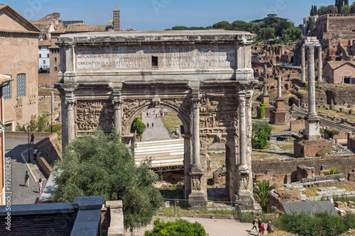 Ruins of Septimius Severus Arch and Roman Forum in city of Rome, Italy Canvas Print