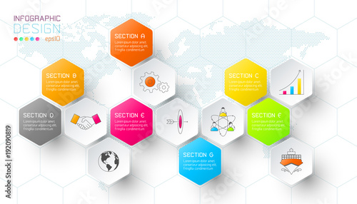 Business hexagon net labels shape infographic bar. Wallpaper Mural