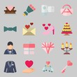 Icons set about Wedding. with love birds, groom and key