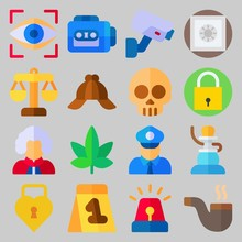 Icon Set About Crime Investigation. With Shisha, Safebox And Heart Padlock