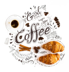Fototapeta Do kawiarni Hand Drawn Coffee Themed Lettering Typography with classic Phrases in a vintage composition.