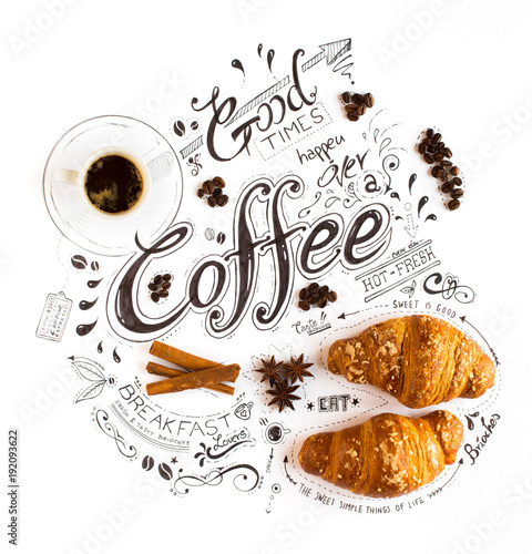 Hand Drawn Coffee Themed Lettering Typography with classic Phrases in a vintage composition. #192093622