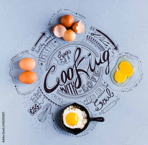Hand Drawn Vintage Poster with eggs related cooking drawings showing 4 cooking p Wallpaper Mural