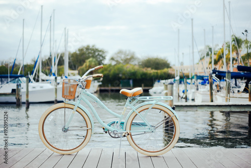 Aluminium Prints Bicycle Bicycle on a dock