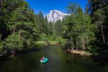 Rafting With Half Dome In Yosemite