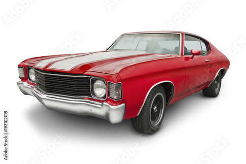 Photo Stands Vintage cars Red 1970 Muscle Car
