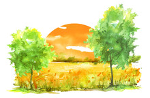 Watercolor Painting, Landscape Of Bright Yellow, Orange Grass, Steppe, Yellow Flowers, Plants, Field, Meadow Against A Bright Blue Sky. On A White Background. Logo, Card For Your Design