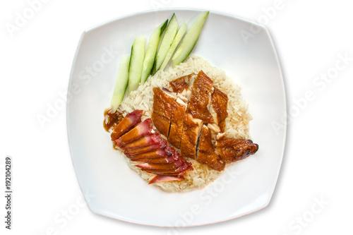 Deurstickers Klaar gerecht Original chicken rice hainan style